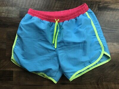 e58a23384c CHUBBIES Blue w/ pink Yellow Neon Colors swim trunks shorts sz L MADE In USA