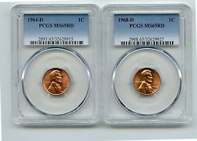 1964-D/1968-D Lincoln Memorial Cents (MS65RD) PCGS 2 Coins