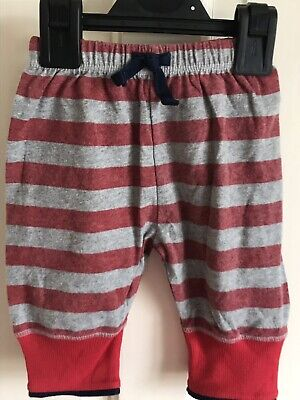 BNWOT M&S Sample Joggers/ Trousers. Boys. Age 0 - 3 Months. Red - Grey Stripe