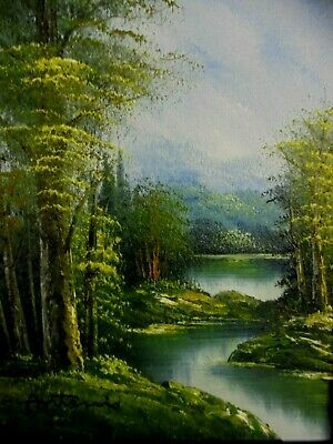 "Vintage Signed Antonio Forest & Stream Framed Landscape Oil Painting  15"" x 17"""