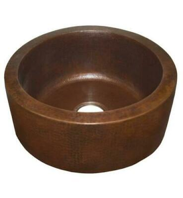 "Native Trails 19"" Bowl Front/Under mount Round Hand Hammered Copper Bar, CPS14"