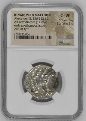 "NGC Greek Silver Tetradrachm ALEXANDER III The Great, 4th Century BC ""Ch V FINE"""
