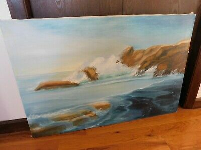 Ocean Waves Crashing on Beach Original Signed Oil Painting Large 36 x 24 Inches