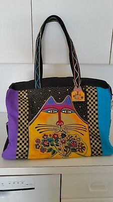 """Laurel Burch """"Cat"""" Extra-Large Zippered Travel Tote Bag"""
