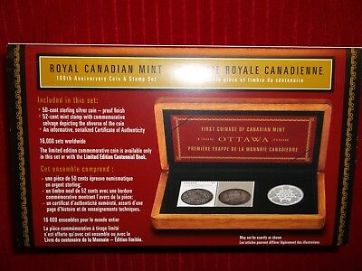 2008-100th ANN OF FIRST COIN MINTED IN OTTAWA, SILVER PROOF .50 & 2 COMM STAMPS