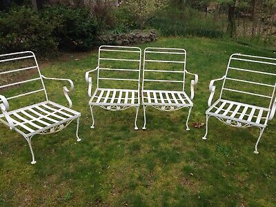 Vintage Lyon Shaw Wrought Iron Patio Set Settee Chairs Ivy White