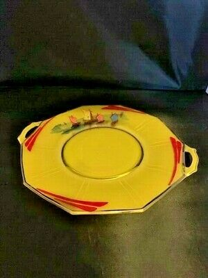 Vintage Czech Bohemian Yellow Glass Tray Painted Enameled Art Deco retro Ships