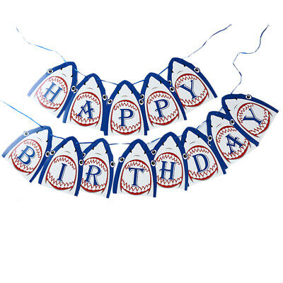 Happy Birthday Banner Paper Hanging Banner Letter Shark Party Decor Casual JJ