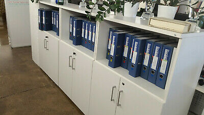 3 x White Melamine Bookcase with Lockable cupboards with 1 adjustable shelf
