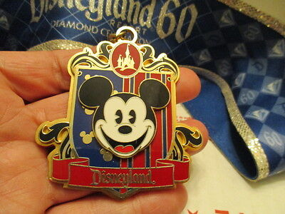 Disney Parks Disneyland 60th Diamond Celebration Blue Pin Lanyard With Mickey