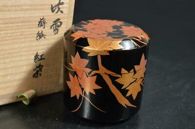 T107: Japanese Wooden Lacquer ware TEA CADDY Natsume Chaire Container w/box