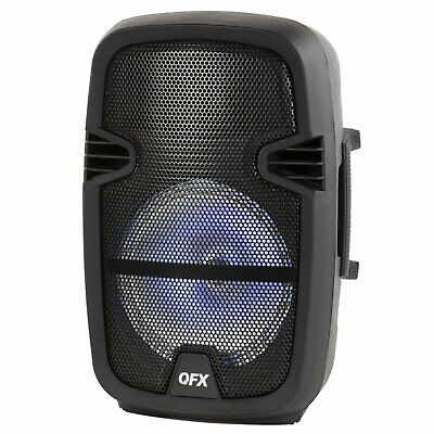 QFX 8-in Portable Party Theater Bluetooth Loudspeaker Microphone & Remote Black