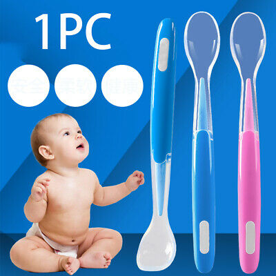 1*Baby Silicone Spoon Feeding Food Cutlery Spoons Infant Durable Dishes Non-Slip