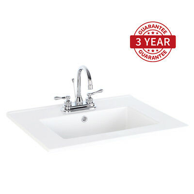 "24"" Bathroom Rectangle Ceramic Sink Drop in W/ Faucet Chrome Centerset 2 Handle"