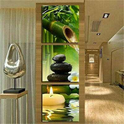 Wall Art Frameless Spa Stone Bamboo Candle Paintings Home Decor Gift Accessories