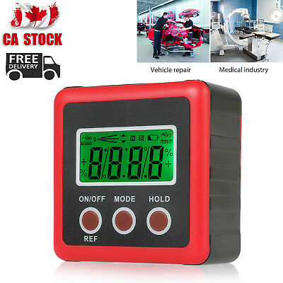Digital Box Gauge Angle Protractor Level Inclinometer Red Magnetic Base 0-360°