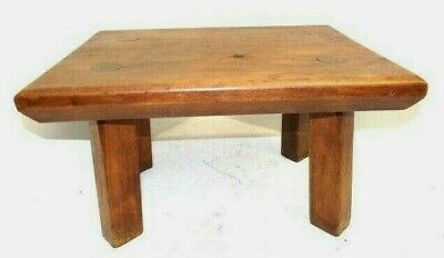 Vintage Used Old Unbranded Pegged Wood Wooden Footstool Plant Stand Furniture