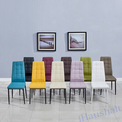 Set Of 2 Dining Chair Multi Coloured Cloth Fabric Back Padded Seat Metal Legs