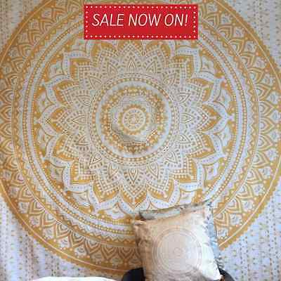 Large Ombre Mandala Tapestry Hippie Indian Wall Hanging Bedspread Bedding Gold