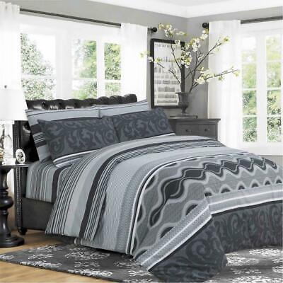 100% Cotton Duvet Cover Set With Pillow Cases & Fitted Sheet 911 Grey King Size