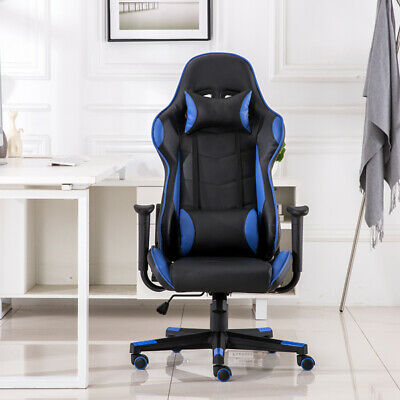 Adjustable Office Gaming Racing Chair Ergonomic Swivel PU Leather Computer Desk
