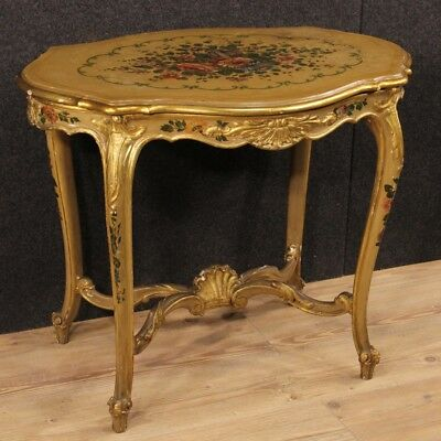 Small Table Low Furniture Living Room Wood Lacquered Painting Antique Style