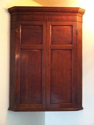 Antique Georgian Oak & Mahogany Corner Cupboard