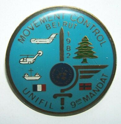 INSIGNE MOVEMENT CONTROL 9° MANDAT UNIFIL BEYROUTH 1982  - Fab Locale
