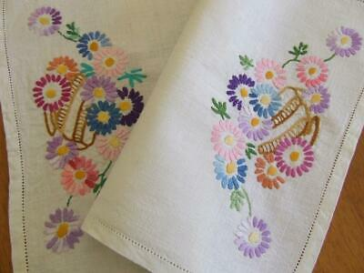 Vintage Hand Embroidered Mat Traycloth - Cart Full of Colourful Daisies
