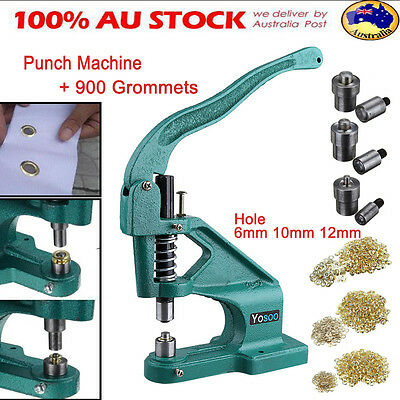 Grommet Eyelet Hole Punch Machine Hand Press Banner With 3 Dies+900 Grommets Kit