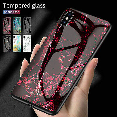 For iPhone 8 6 7 XS Max XR Case Marble Tempered Glass Back Shockproof Slim Cover