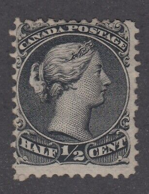 "Canada MINT NG Scott #21  1/2 cent black ""Large Queen""   F *"