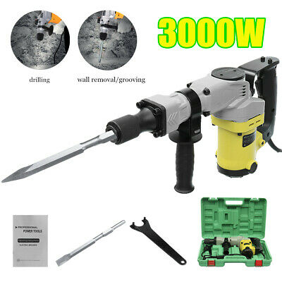 3000W Electric Demolition Jackhammer Drill Concrete Breaker Kit With 2x Chisel