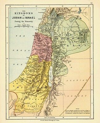 1878 VICTORIAN MAP ~ the KINGDOMS of JUDAH and ISRAEL ~ DURING the MONARCHY