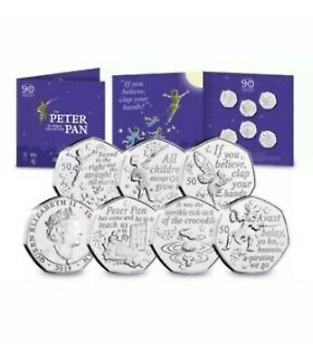 The World's First Peter Pan 50p fifty pence rare coin set