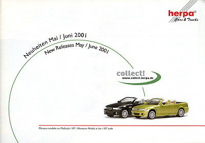 Magazine Catalogue Herpa May June 2001 Cars & Trucks 12 Pages