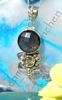 Ω Pendant Flower Blossom Smoky Quartz Brown Citrine Yellow Sterling Silver 925