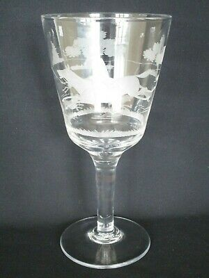 Late 19th / early 20th-Century Glass Goblet Engraved with Fox Hunting Scene