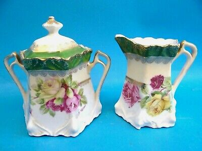 Antique White Green Rose Pattern Germany 27 22 Creamer Sugar Bowl Serving Set
