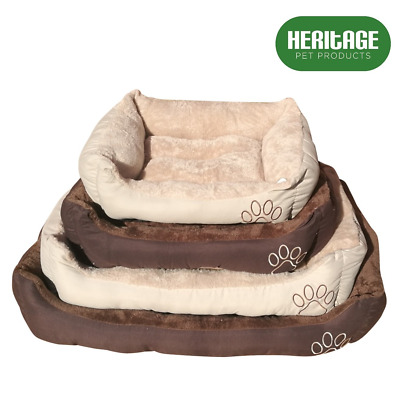 Heritage Deluxe Soft Washable Dog Pet Warm Basket Bed Cushion with Fleece Lining
