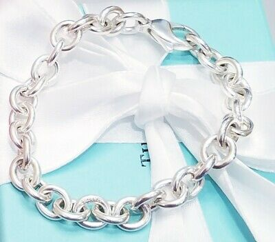 f305039f2 Tiffany & Co Sterling Silver 925 Rolo Chain Link Charm Bracelet Lobster  Clasp