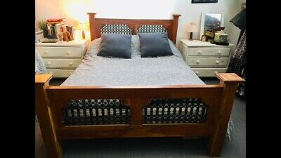 Double Bed Frame, Wooden With Metal Detail