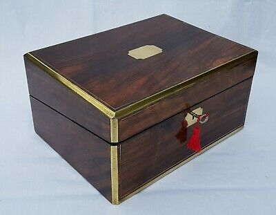 Antique Victorian c1870 campaign brass rosewood writing slope secret drawers