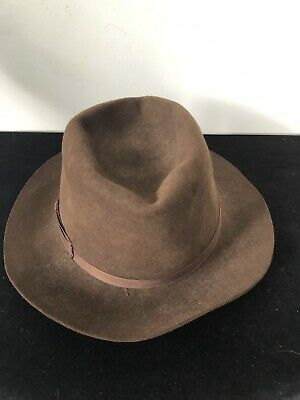 393559908 VINTAGE SUZANNE BETTLEY blue straw trilby hat size large hipster ...
