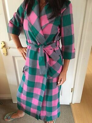 BEAUTIFUL Genuine True Vintage Pink&Green Check Long Collared Belted Coat 8/10/1