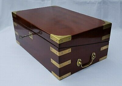 Antique Victorian c1870 military style campaign brass walnut writing slope