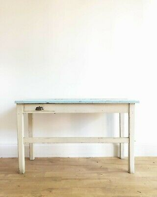 Lovely Blue And Cream Painted French Antique Kitchen Table Work Bench Desk