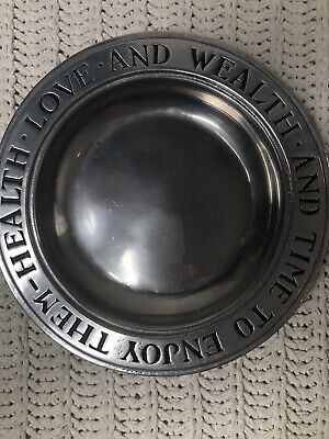 """Vintage Wilton Columbia Pa Health Love  And Wealth 9"""" Pewter Plate"""