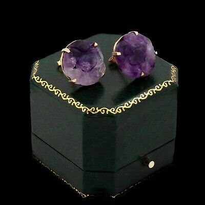 Antique Vintage Art Deco 18k Yellow Gold Carved Purple Amethyst Cluster Earrings