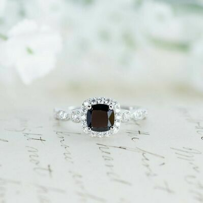 2Ct Cushion-Cut Black Diamond Halo Engagement Ring 10K White Gold Finish